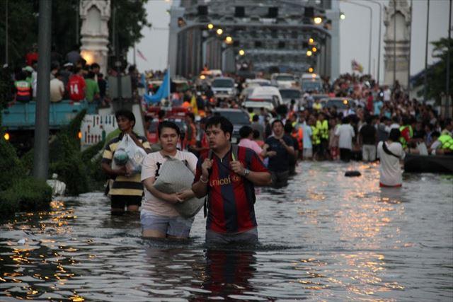 洪水に襲われた2011年のタイ